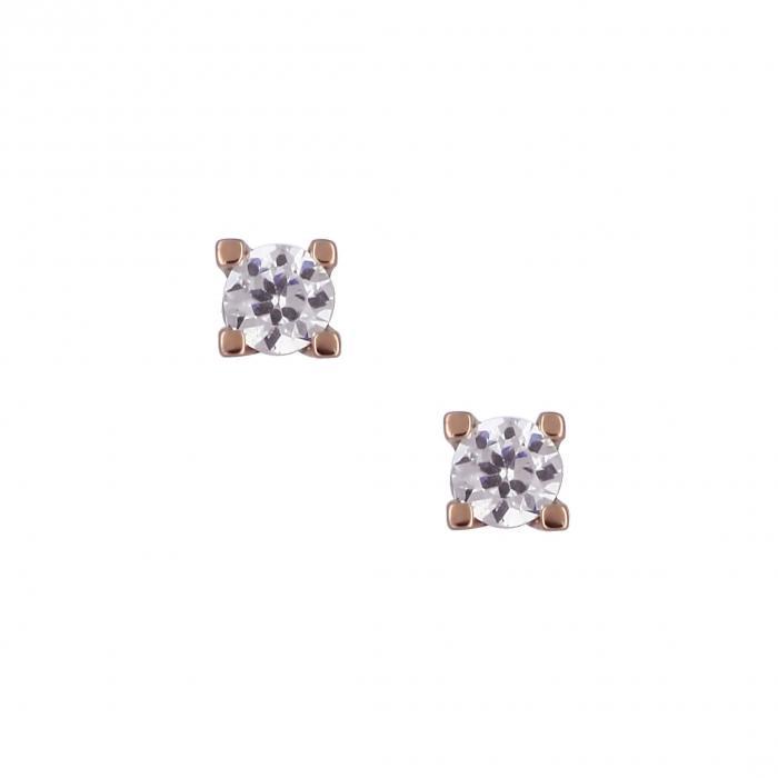 SKU-16149 / Σκουλαρίκια Ροζ Χρυσός Κ14 με Ζιργκόν