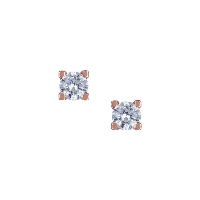 SKU-16167 / Σκουλαρίκια Ροζ Χρυσός Κ14 με Ζιργκόν