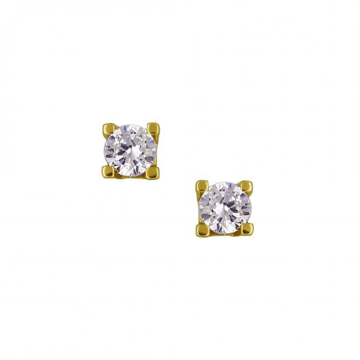 SKU-16141 /  Σκουλαρίκια Χρυσός Κ14 με Ζιργκόν