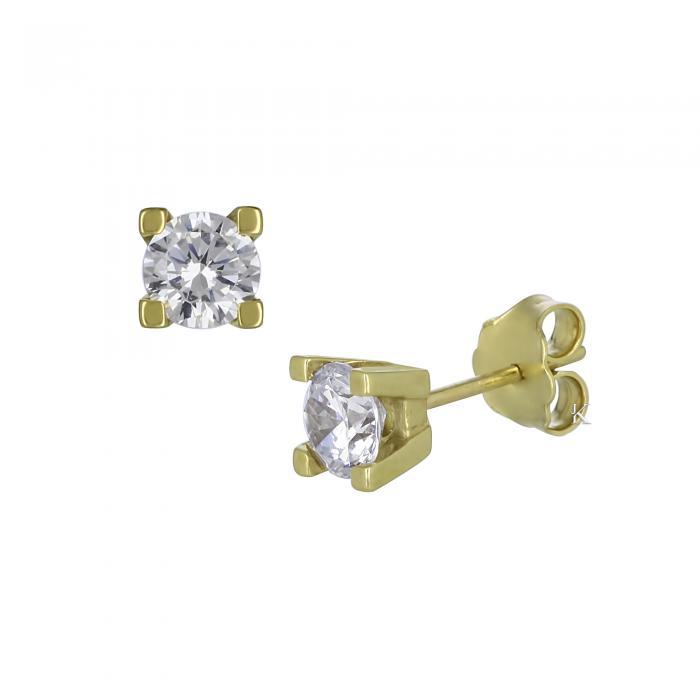 SKU-16163 / Σκουλαρίκια Χρυσός Κ14 με Ζιργκόν