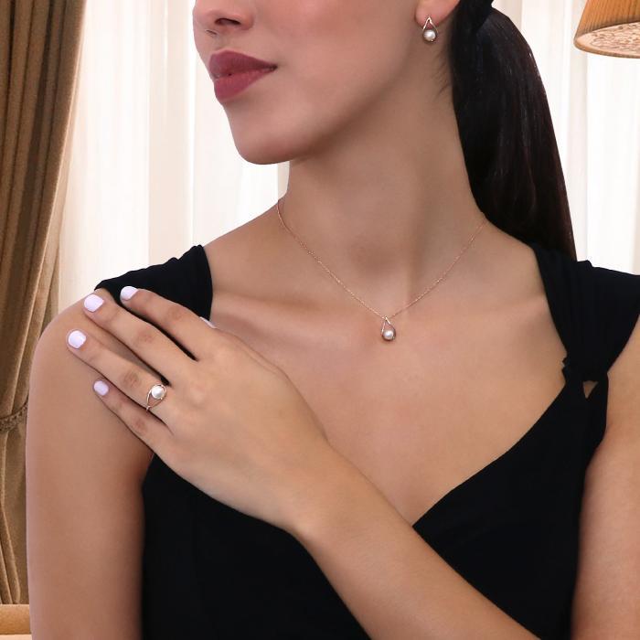 SKU-16541 / Σκουλαρίκια Ροζ Χρυσός Κ14 με Μαργαριτάρια