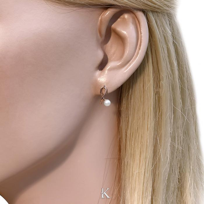SKU-16554 / Σκουλαρίκια Ροζ Χρυσός Κ14 με Μαργαριτάρια