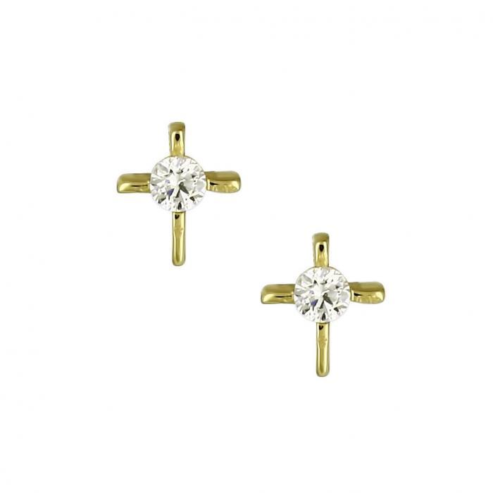 SKU-16853 / Σκουλαρίκια Χρυσός Κ14 με Ζιργκόν