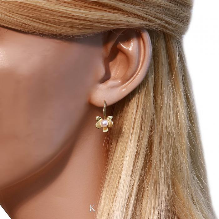 SKU-16818 / Σκουλαρίκια Χρυσός Κ14 με Μαργαριτάρι