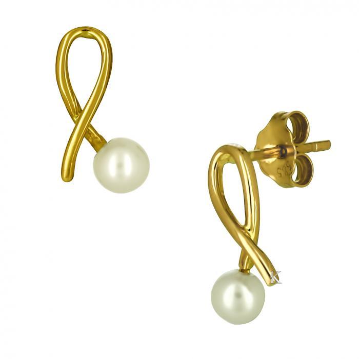 SKU-16549 / Σκουλαρίκια Χρυσός Κ14 με Μαργαριτάρια