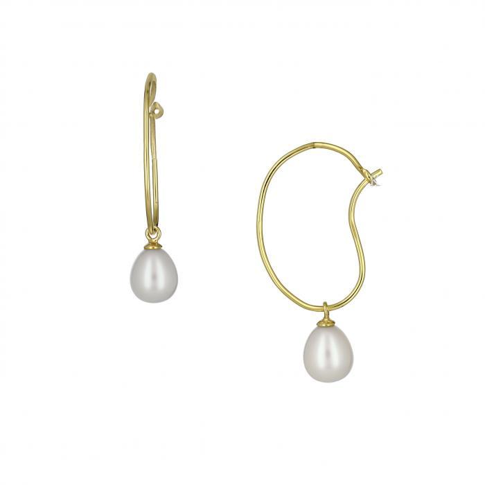SKU-16811 / Σκουλαρίκια Χρυσός Κ14 με μαργαριτάρια