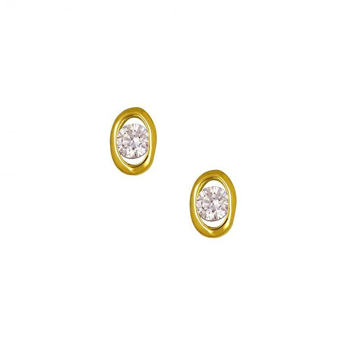 SKU-16812 / Σκουλαρίκια Χρυσός Κ14 με Ζιργκόν