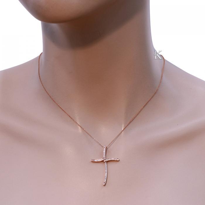 Σταυρός Ροζ Χρυσός Κ14 με Ζιργκόν