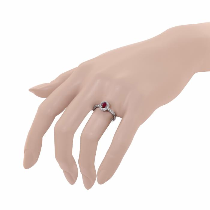 SKU-17749 / Δαχτυλίδι  Λευκόχρυσος Κ18 με Ρουμπίνι & Διαμάντια
