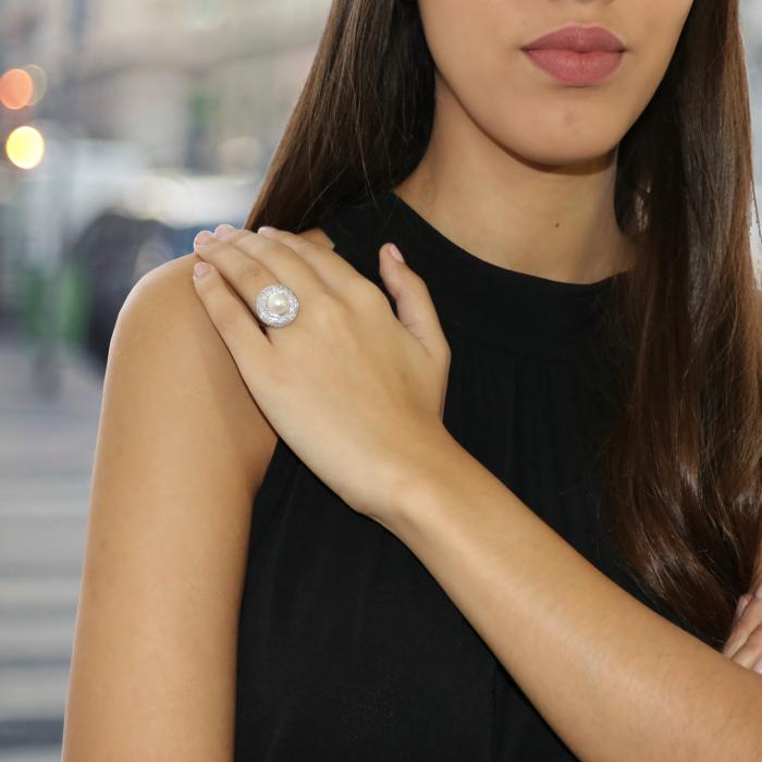 Δαχτυλίδι Λευκόχρυσος Κ18 με Μαργαριτάρι & Διαμάντια