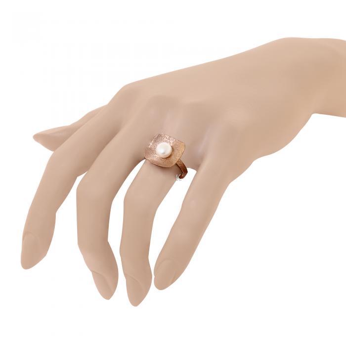 Δαχτυλίδι Ροζ Χρυσός Κ14 με Μαργαριτάρι