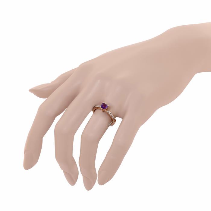 SKU-17772 / Δαχτυλίδι Ροζ Χρυσός Κ18 με Αμέθυστο & Διαμάντια