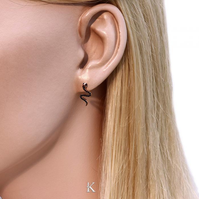 SKU-17966 / Σκουλαρίκια Φίδι Ροζ Χρυσός Κ9 με Ζιργκόν