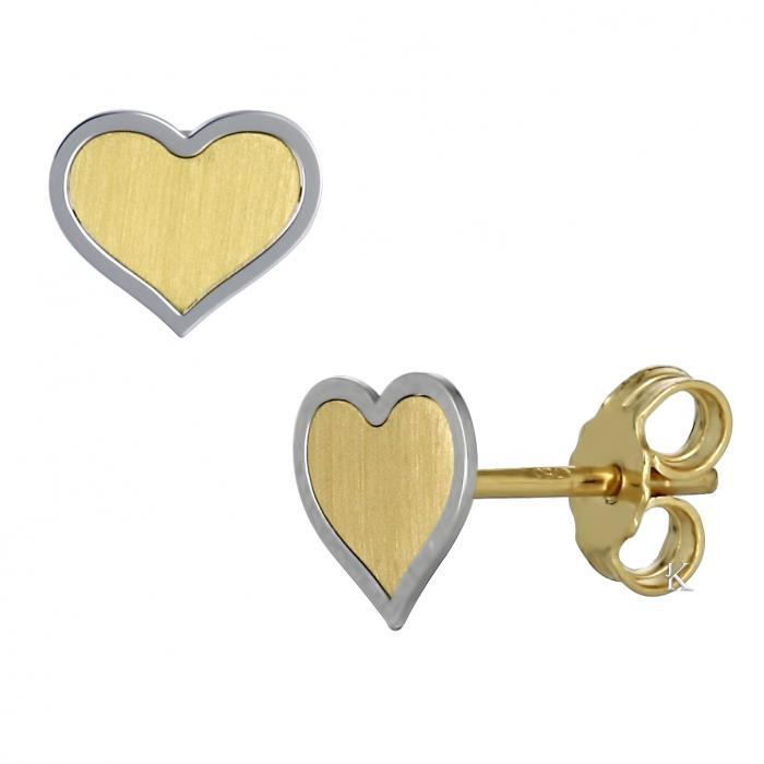SKU-17028 / Σκουλαρίκια Καρδία Χρυσός & Λευκόχρυσος Κ18