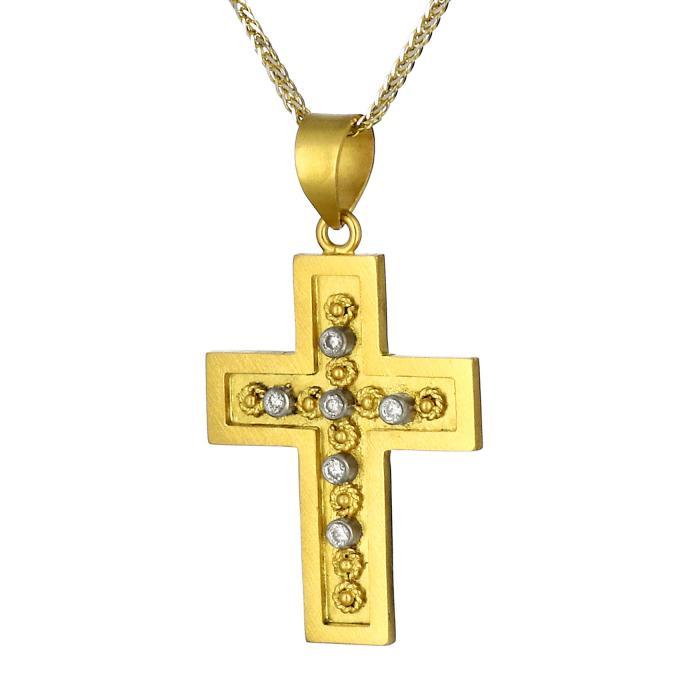 SKU-17282 / Σταυρός Χρυσός Κ18 με Διαμάντια