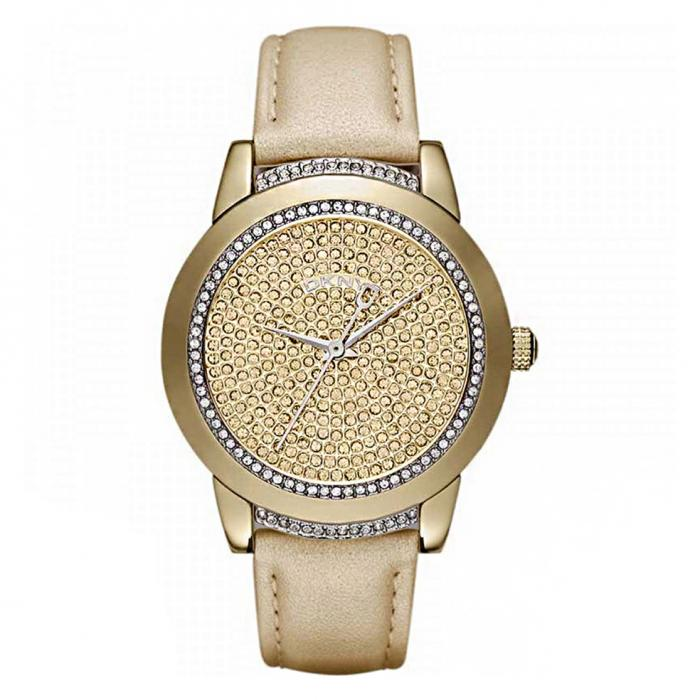 SKU-18313 / DKNY Crystals Gold Leather Strap