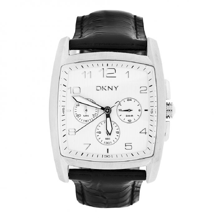 SKU-18306 / DKNY White Dial Black Leather Strap