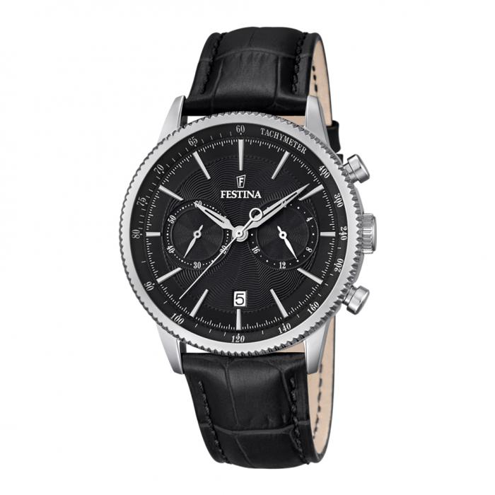 SKU-18614 / FESTINA Chronograph Black Leather Strap