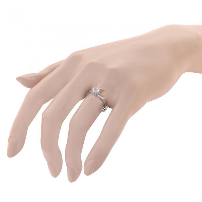 Μονόπετρο Δαχτυλίδι Λευκόχρυσος Κ14 με Ζιργκόν