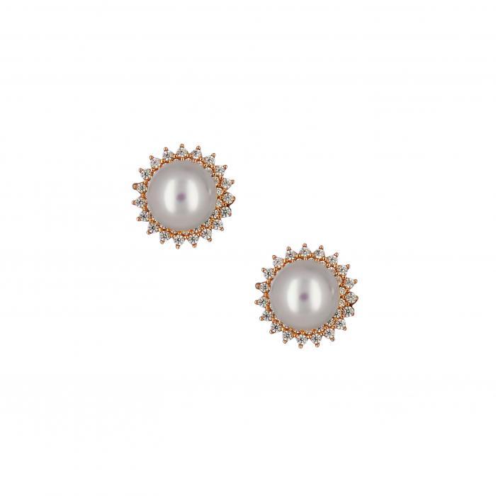 SKU-18769 / Σκουλαρίκια Ροζ Χρυσός Κ14 με Μαργαριτάρια & Ζιργκόν