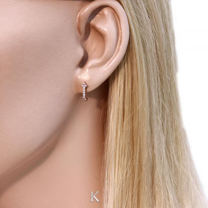SKU-18240 / Σκουλαρίκια Ροζ Χρυσός Κ14 με Ζιργκόν