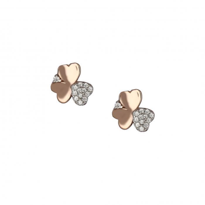 SKU-18775 / Σκουλαρίκια Ροζ Χρυσός Κ14 με Ζιργκόν