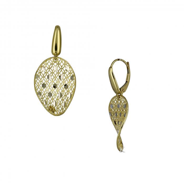 SKU-18505 / Σκουλαρίκια Χρυσός & Λευκόχρυσος Κ14