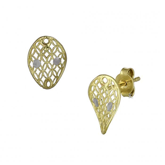 SKU-18507 / Σκουλαρίκια Χρυσός & Λευκόχρυσος Κ14
