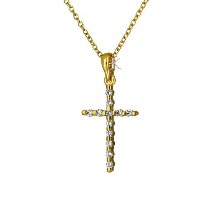 SKU-18263 / Σταυρός Χρυσός Κ14 με Ζιργκόν