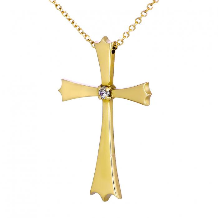 SKU-18177 / Σταυρός Χρυσός Κ18 με Διαμάντι