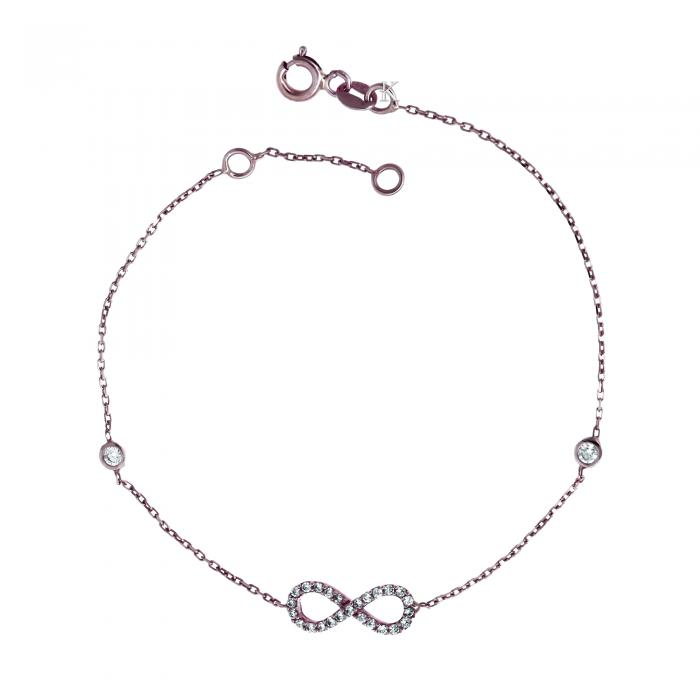SKU-19933 / Βραχιόλι Ιnfinity Ροζ Χρυσός Κ14 με Ζιργκόν