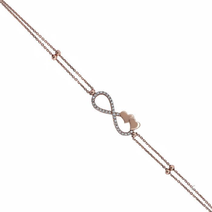 SKU-20809 / Βραχιόλι Infinity Ροζ Χρυσός Κ14 με Ζιργκόν