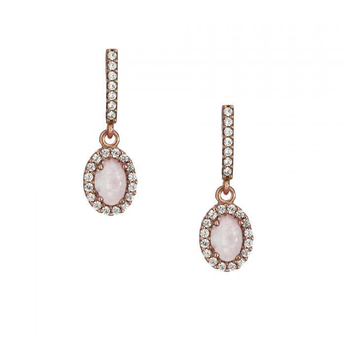 SKU-20885 / Σκουλαρίκια Ροζ Χρυσός Κ14 με Rose Quartz & Ζιργκόν