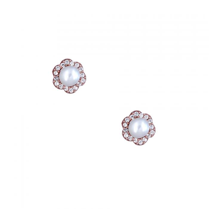 SKU-20954 / Σκουλαρίκια Ροζ Χρυσός Κ9 με Μαργαριτάρια & Ζιργκόν