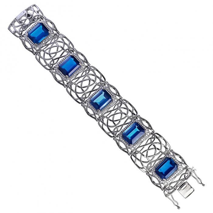 SKU-21084 / Βραχιόλι Λευκόχρυσος Κ18 με Διαμάντια & London Blue Topaz