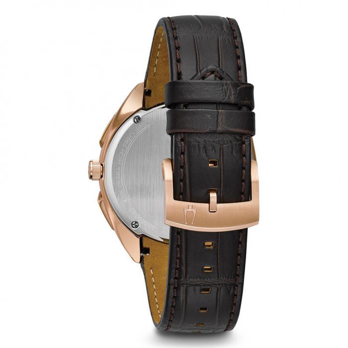 SKU-21986 / BULOVA Curv Chronograph Brown Leather Strap