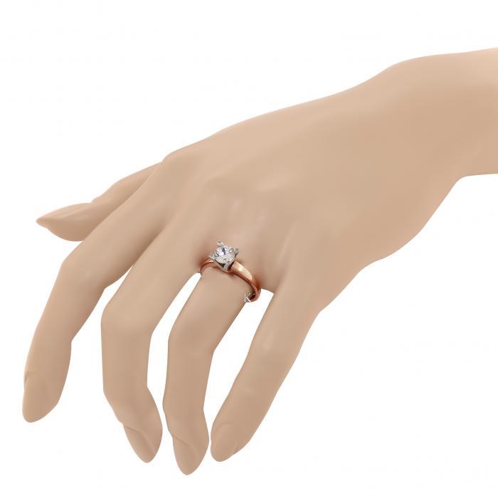 Μονόπετρο Δαχτυλίδι Ροζ Χρυσός & Λευκόχρυσος Κ14 μεΖιργκόν