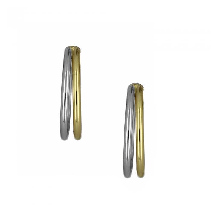 SKU-21541 / Σκουλαρίκια Χρυσός & Λευκόχρυσος Κ14