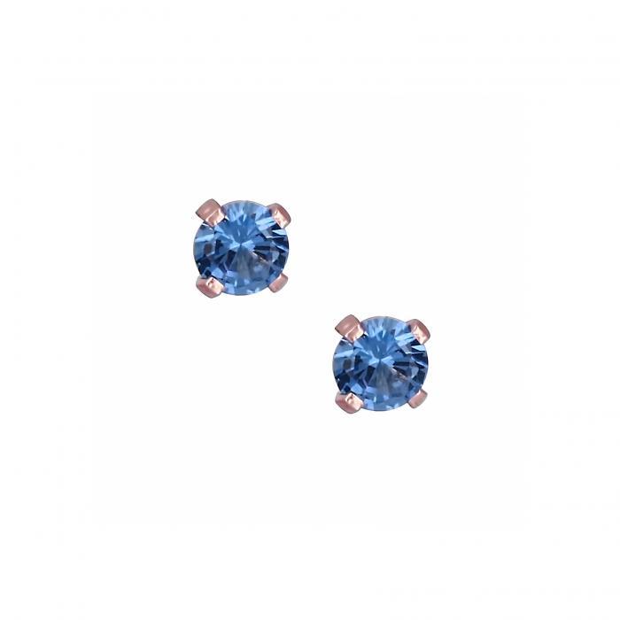 SKU-21576 / Σκουλαρίκια Ροζ Χρυσός Κ14 με Ζιργκόν