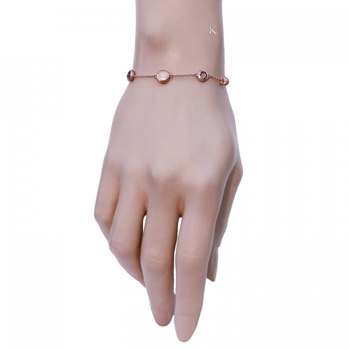 SKU-22933 / Βραχιόλι Ροζ Χρυσός Κ14 με Αμέθυστο