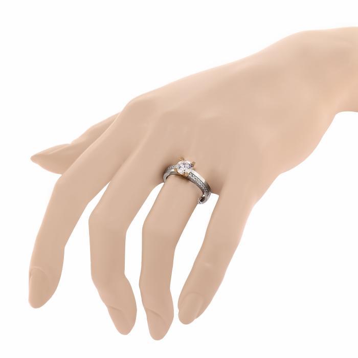 Δαχτυλίδι Μονόπετρο Λευκόχρυσος & Ροζ Χρυσός Κ14 με Ζιργκόν