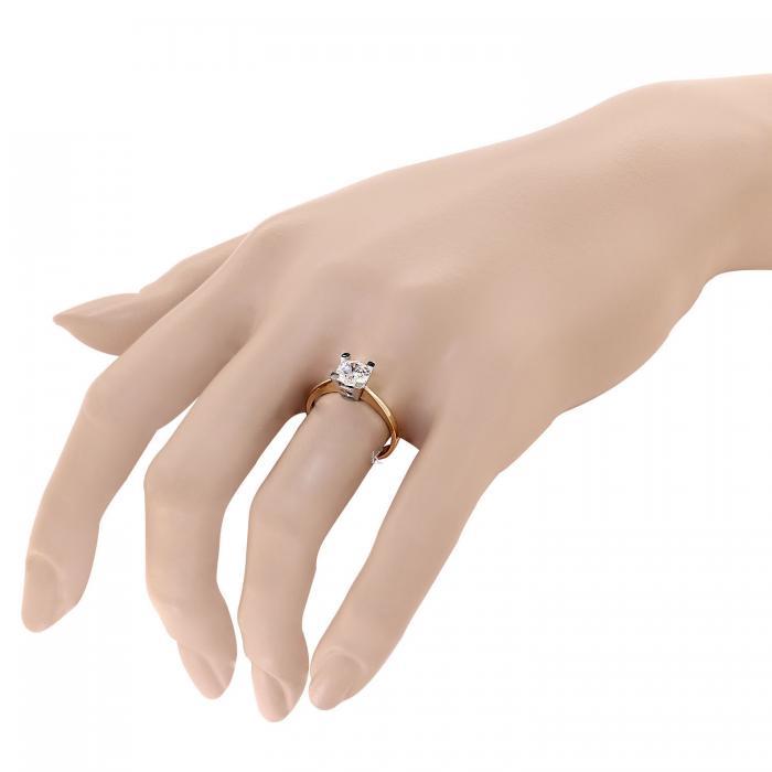 Μονόπετρο Δαχτυλίδι Ροζ Χρυσός & Λευκόχρυσος Κ14 με Ζιργκόν