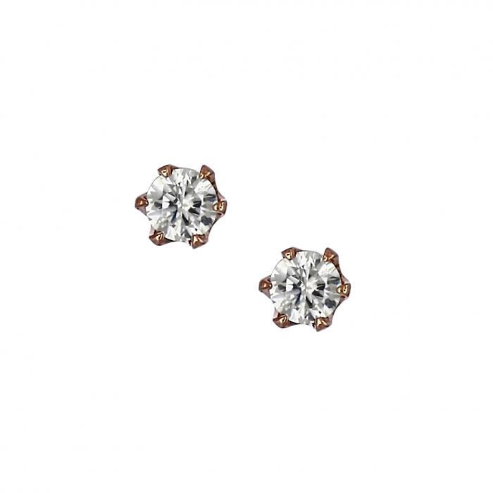 SKU-22353 / Σκουλαρίκια Ροζ Χρυσός Κ14 με Ζιργκόν