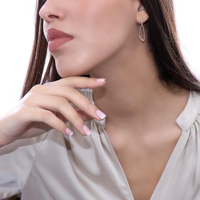 Σκουλαρίκια Λευκόχρυσος Κ14 με Διαμάντια