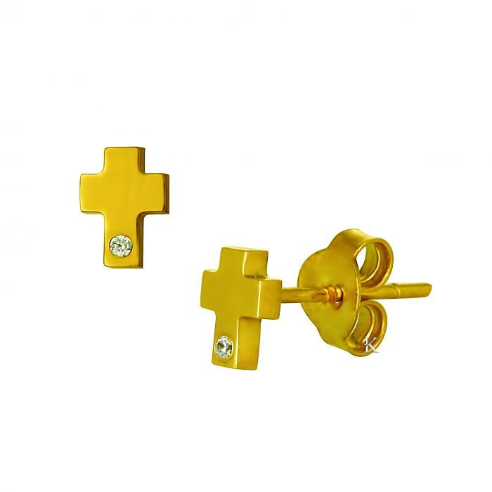 SKU-22346 / Σκουλαρίκια Χρυσός Κ14 με Ζιργκόν