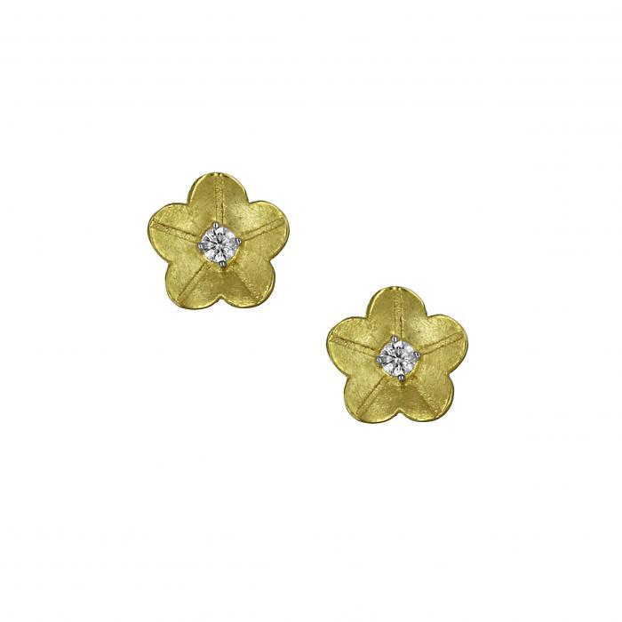 SKU-22344 / Σκουλαρίκια Χρυσός Κ14 με Ζιργκόν