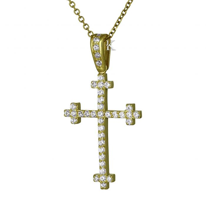 SKU-22369 / Σταυρός FaCad'oro Χρυσός Κ14 με Ζιργκόν