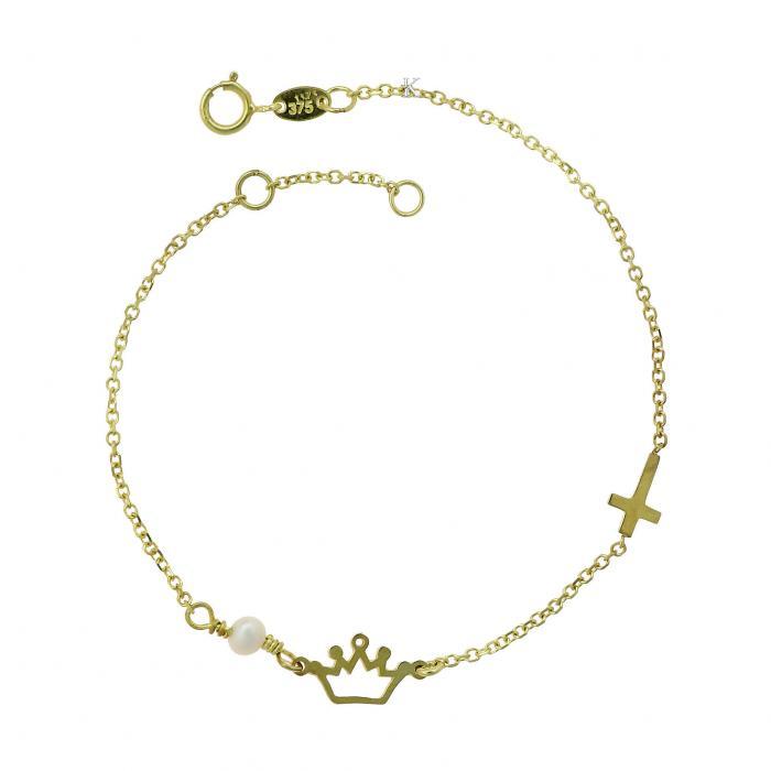 SKU-23957 / Βραχιόλι Χρυσός Κ9 με Μαργαριτάρι