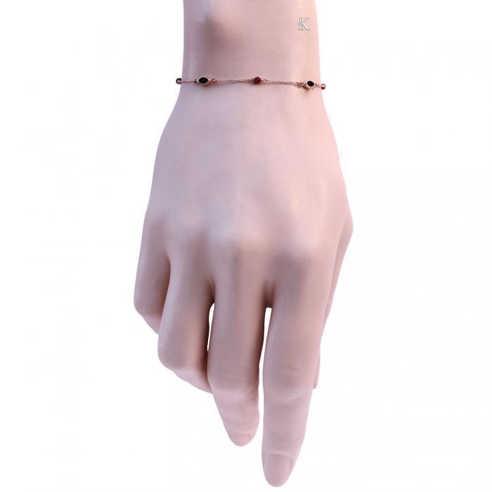 SKU-23083 / Βραχιόλι Ροζ Χρυσός Κ14 με Σπινέλιο & Μαύρο Όνυχα