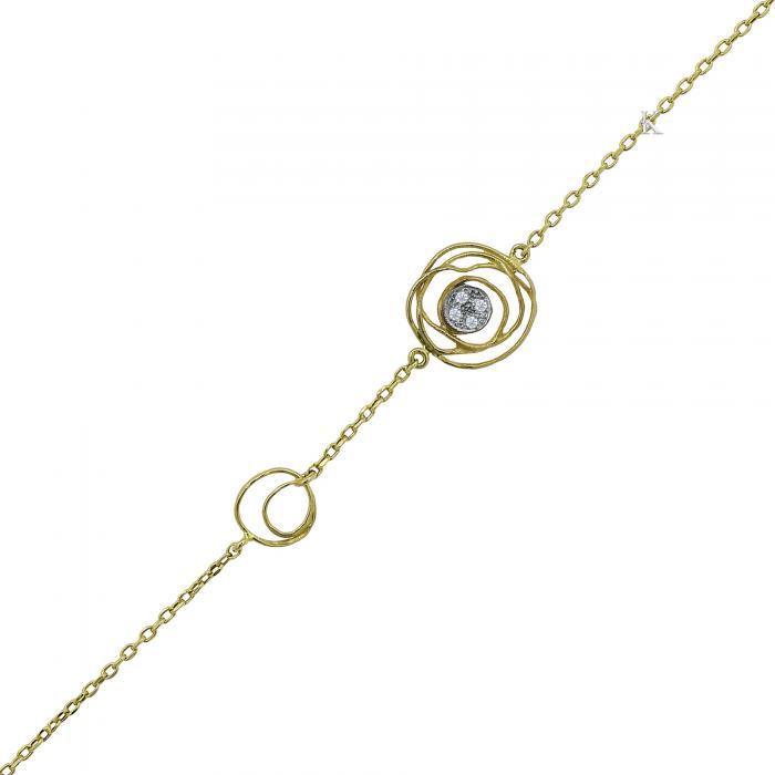 SKU-23951 / Βραχιόλι Χρυσός & Λευκόχρυσος Κ14 με Ζιργκόν